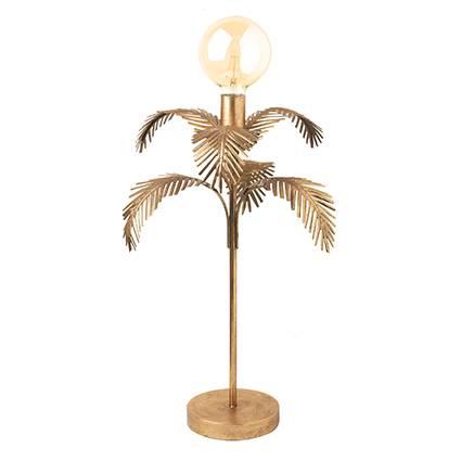 Lampada dorata foglie palma metallo da tavolo 62h