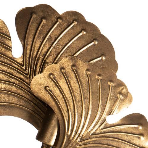 Lampada dorata foglie ginko metallo da tavolo 62h