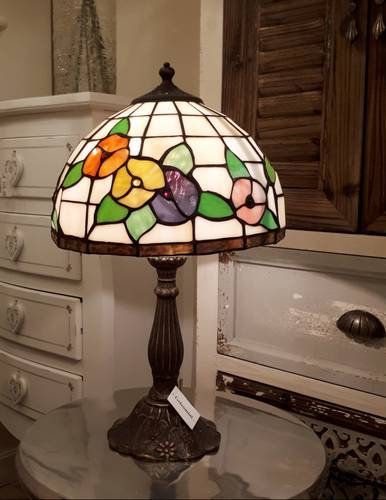 Lampada tiffany bianca fiori colorati h 48