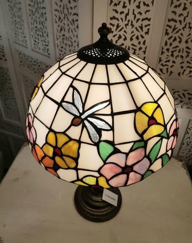 Lampada tiffany libellula e fiori base impero 50h