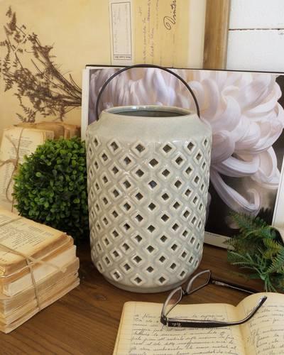 Lanterna ceramica grigia rombi 26h