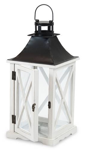 Lanterna legno bianco finestrata tetto metallo nero 47h