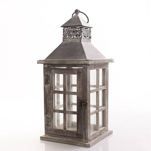 Lanterna legno naturale finestrata tetto grigio