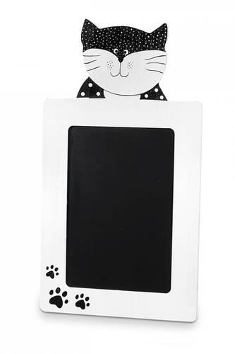 Lavagna nera con gatto bianco e nero