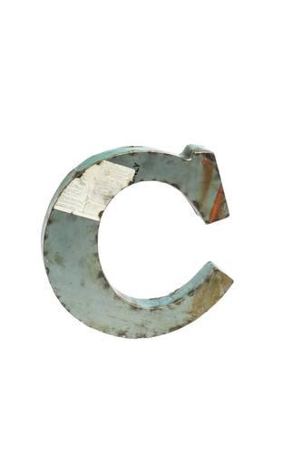 Lettera metallo C vintage colorata