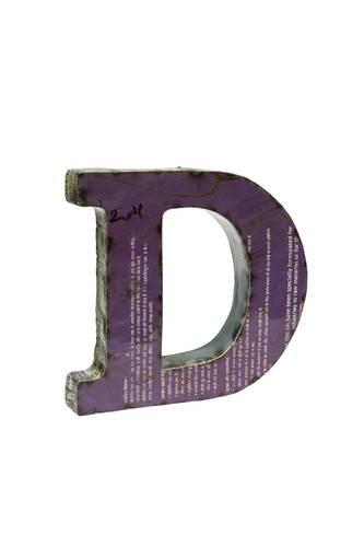 Lettera metallo D vintage colorata