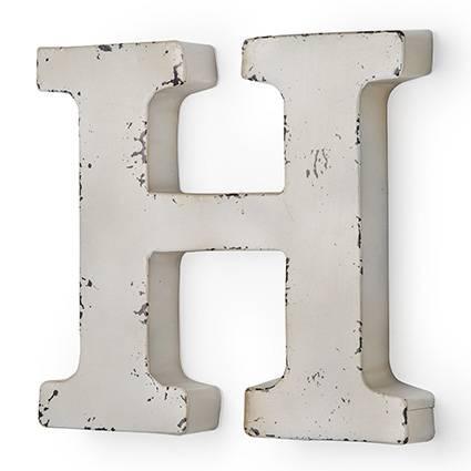 Lettera metallo H bianca