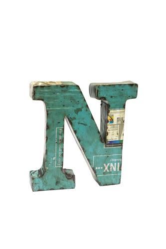 Lettera metallo N vintage colorata