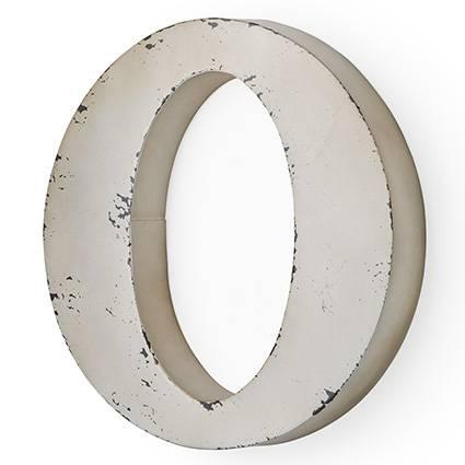 Lettera metallo O bianca