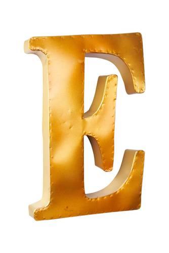 Lettera metallo E giallo oro