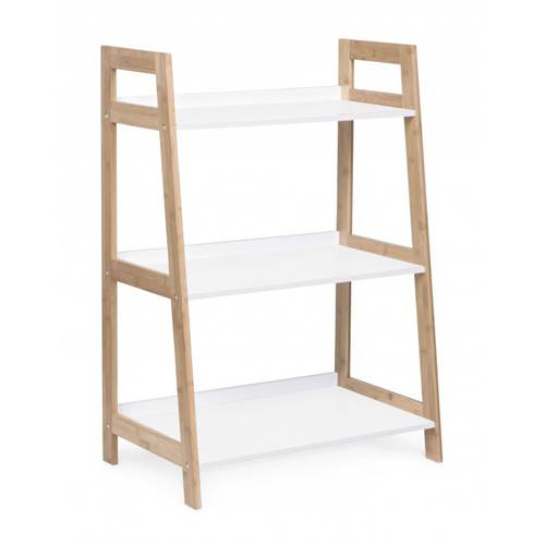 Libreria scala bianca 3 piani struttura bamboo