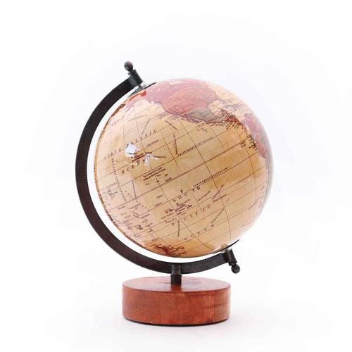 Mappamondo antico base legno globo nocciola lucido 30h
