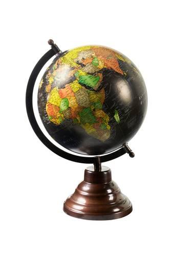 Mappamondo antico globo nero base ottone 32h