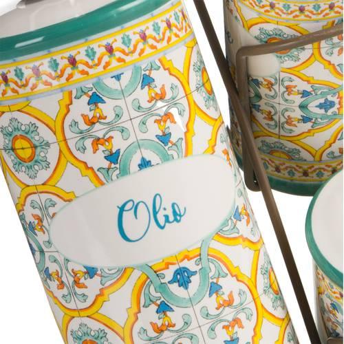 Menage olio aceto sale e pepe ceramica Ortigia con supporto
