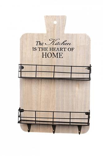 Mensola legno da cucina Kitchen 2 tasche + ganci