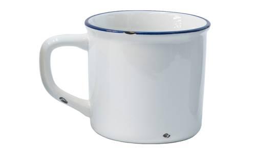 Mug smaltata bianca larga h10