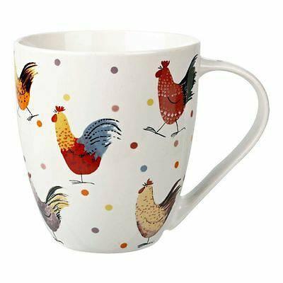 Mug tazza bianca galli colorati porcellana