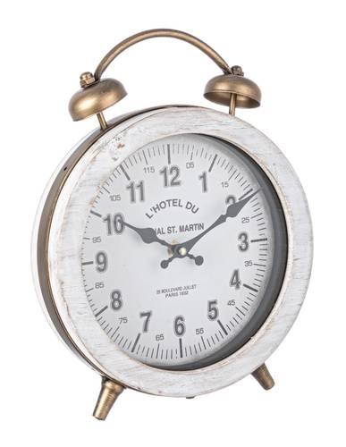 Orologio da tavolo metallo oro e legno bianco
