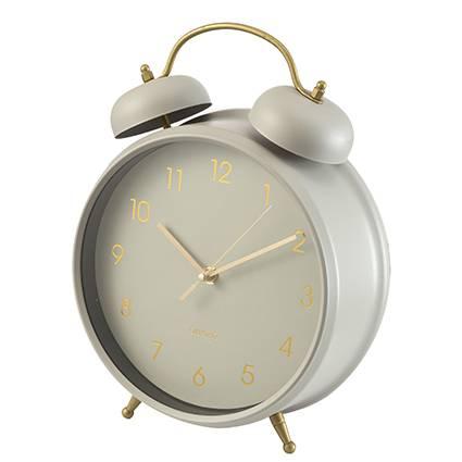 Orologio da tavolo metallo tortora finiture oro 30h