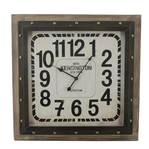 Orologio quadrato da parete legno e ferro Kensigton 59x59