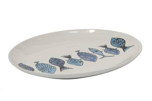 Piatto ovale pesci azzurri