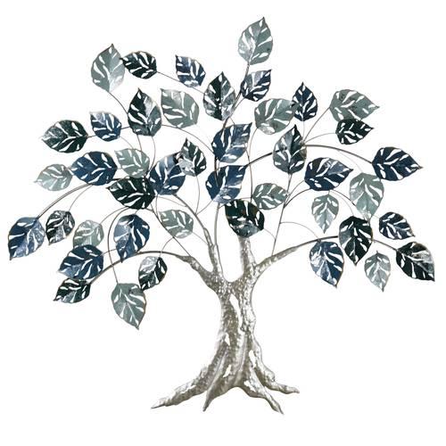Pannello decorativo da parete metallo quercia foglie blu