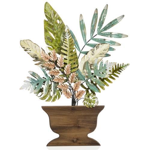 Pannello decorativo pianta metallo colorata in vaso