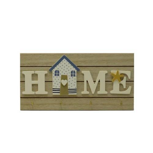 Pannello portachiavi Home casa blu 4 ganci