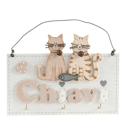 Pannello portachiavi decoro gatti colorati