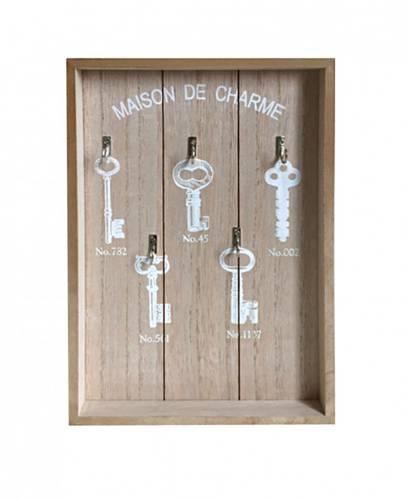 Pannello portachiavi legno naturale 5 ganci decoro chiavi