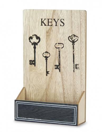 Pannello portachiavi legno naturale con tasca nera Keys
