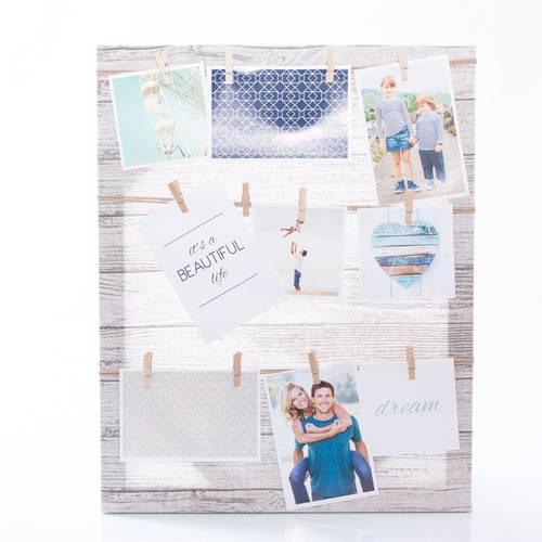 Pannello portafoto tessuto con mollette 50x70
