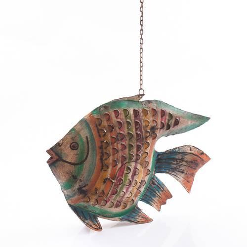 Pesce metallo colorato porta candele