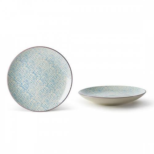 Piatto piano tratteggio azzurro collezione Althea