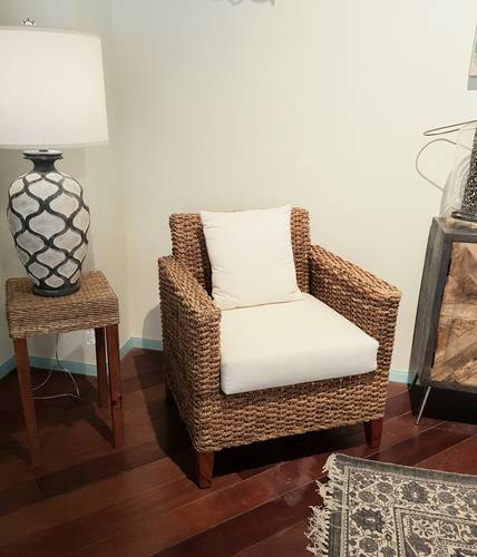Poltrona intreccio naturale giacinto con cuscini