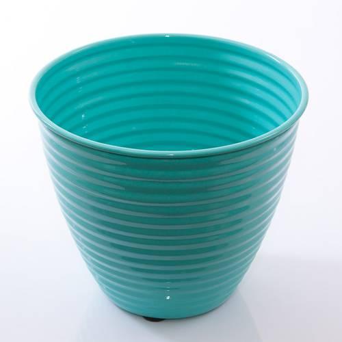 Porta vaso latta turchese smaltato onde cm26x22h