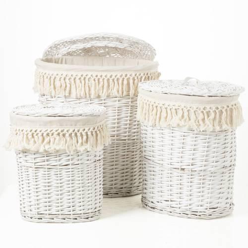 Portabiancheria bianco ovale vimini con frange cotone