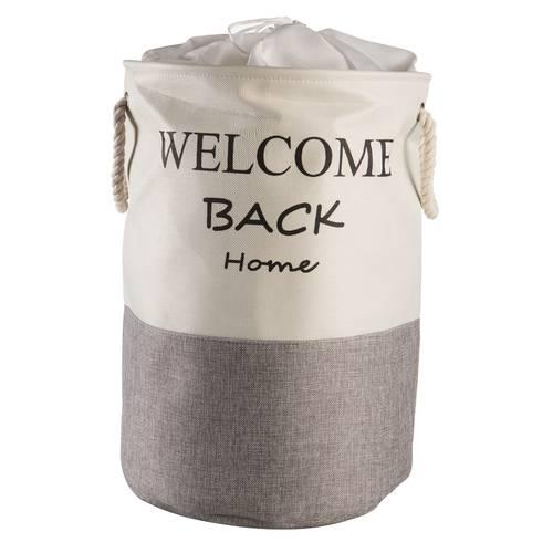 Portabiancheria tessuto tondo Welcome Home sacca con maniglie bianco e grigio