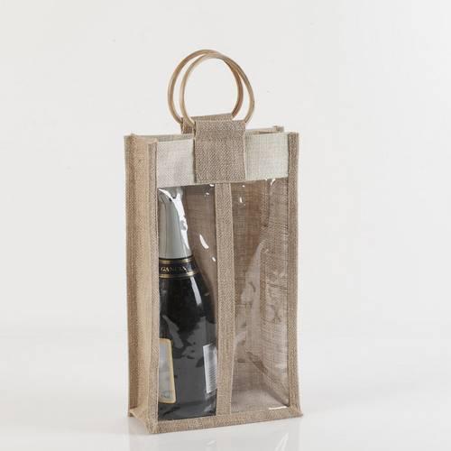 Portabottiglie borsina iuta 2 posti con manico legno