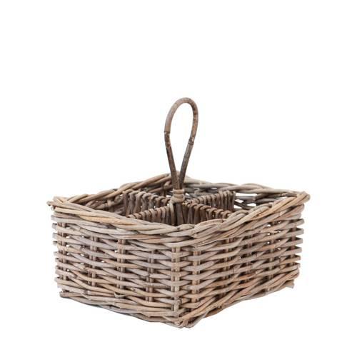 Portabottiglie cestello giunco grigio 4 posti con manico