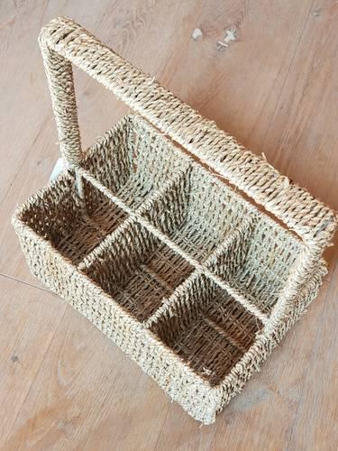 Portabottiglie cestello intrecciato in paglia 6 posti con manico