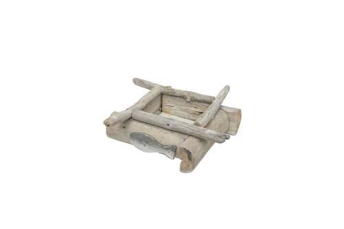 Portacandele legno marino con pesce grigio
