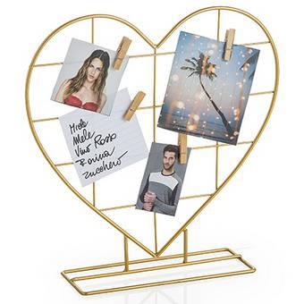 Portafoto da appoggio filo oro con mollettine