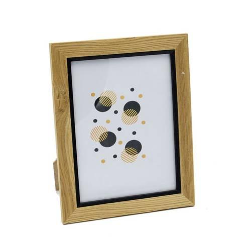 Portafoto legno naturale profilo nero 15x20
