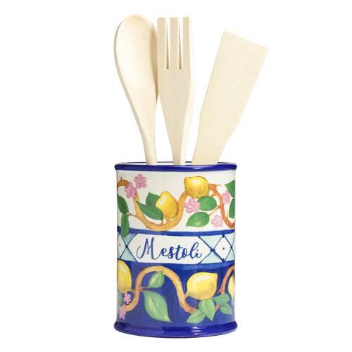 Barattolo portamestoli Limoni ceramica colorata