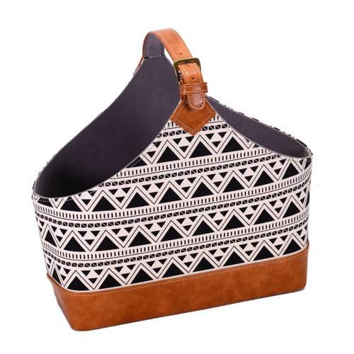 Portariviste borsa ecopelle e tessuto stampa triangoli neri