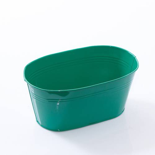 Portavasi ovale latta verde scuro cm22