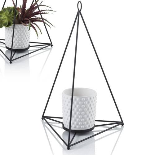 Portavaso  ferro piramide con vaso bianco
