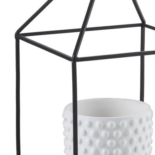 Portavaso ferro casetta con vaso bianco