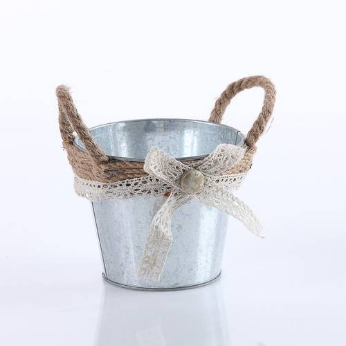 Portavaso tondo latta zincata fiocco iuta cm 15